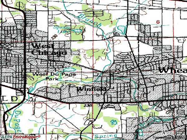 Zip code 60190 topographic map