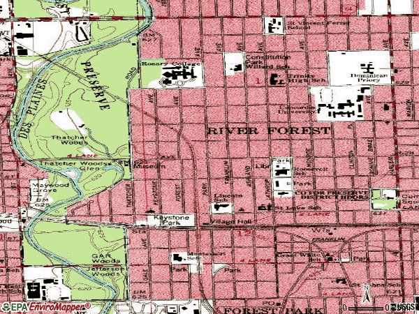 Zip code 60305 topographic map