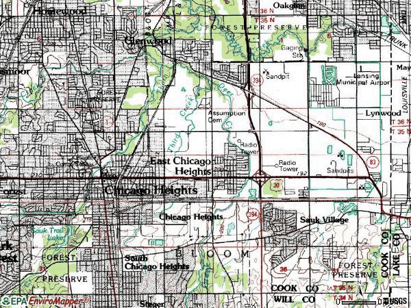 Zip code 60411 topographic map