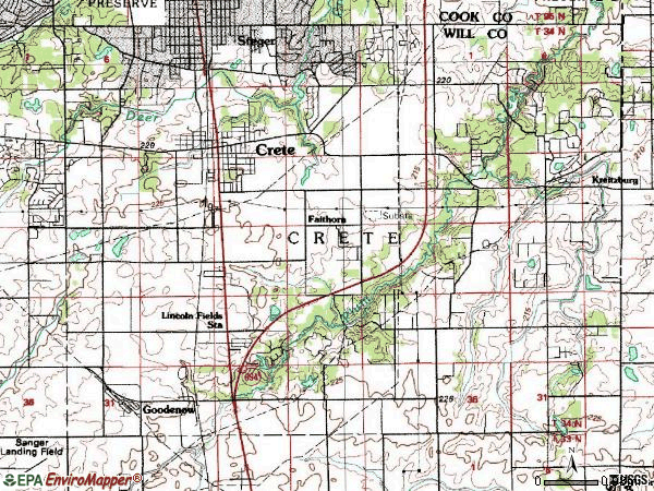 Zip code 60417 topographic map