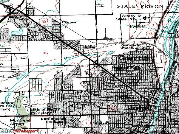 Zip code 60435 topographic map