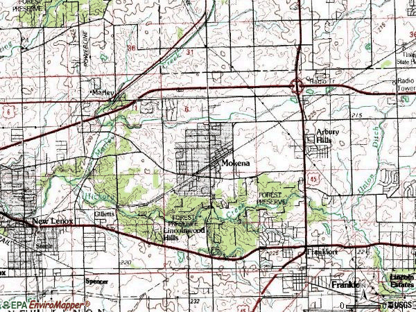Zip code 60448 topographic map