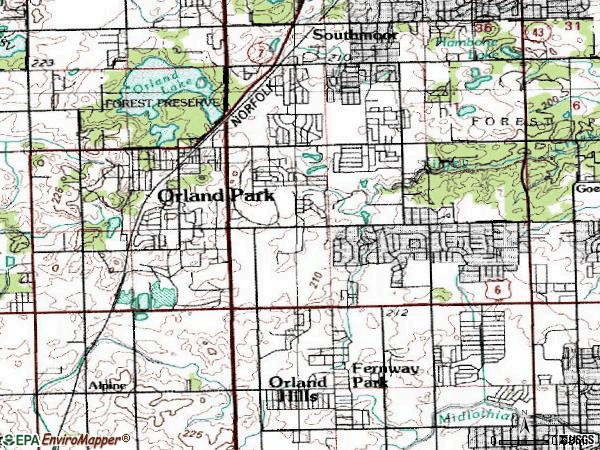 Zip code 60462 topographic map