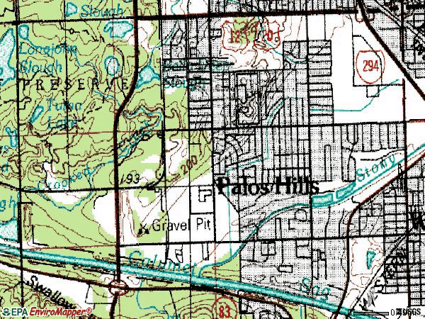 Zip code 60465 topographic map