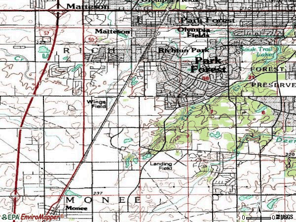 Zip code 60466 topographic map