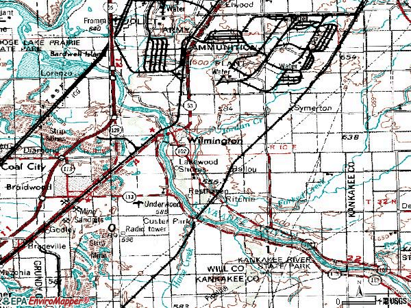Zip code 60481 topographic map