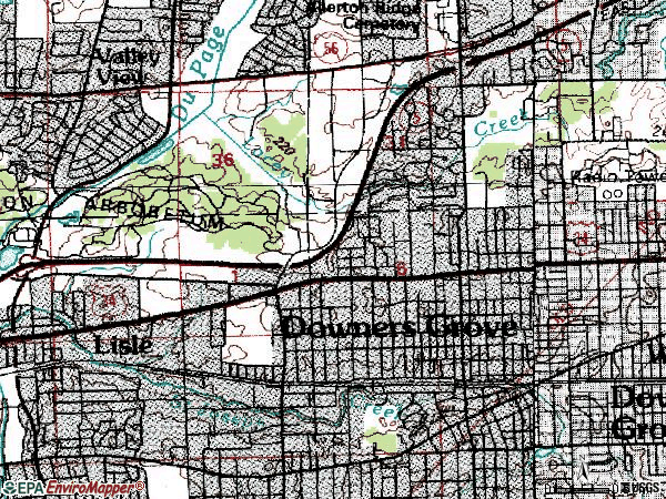 Zip code 60515 topographic map