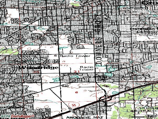 Zip code 60516 topographic map
