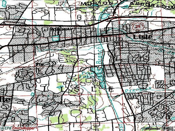 Zip code 60532 topographic map