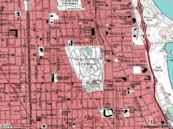 Zip code 60613 topographic map