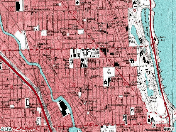 Zip code 60614 topographic map