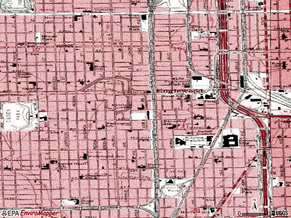 Zip code 60621 topographic map
