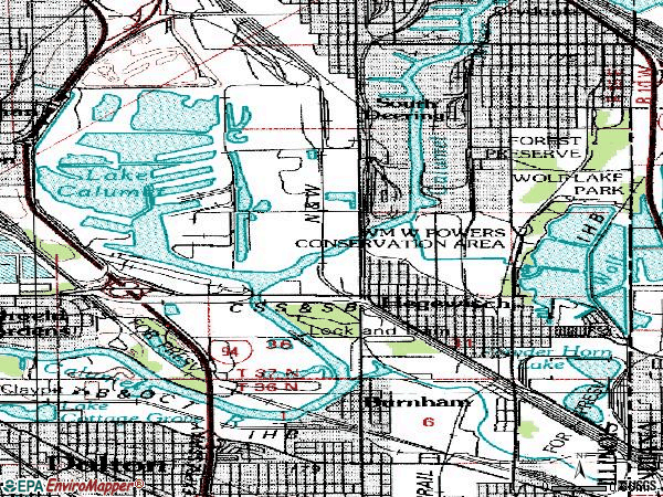 Zip code 60633 topographic map