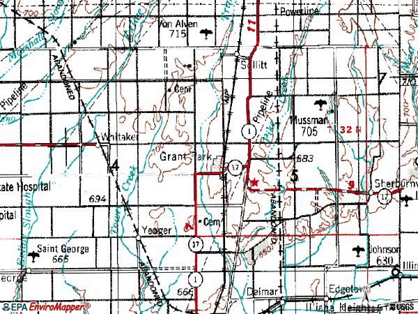 Zip code 60940 topographic map