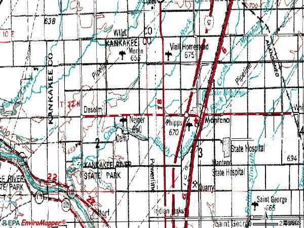 Zip code 60950 topographic map