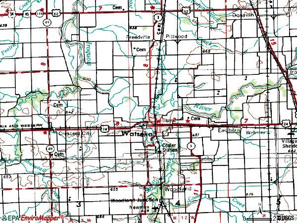 Zip code 60970 topographic map