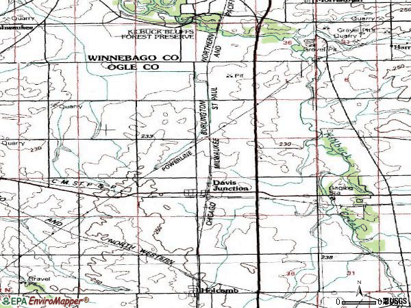 Zip code 61020 topographic map