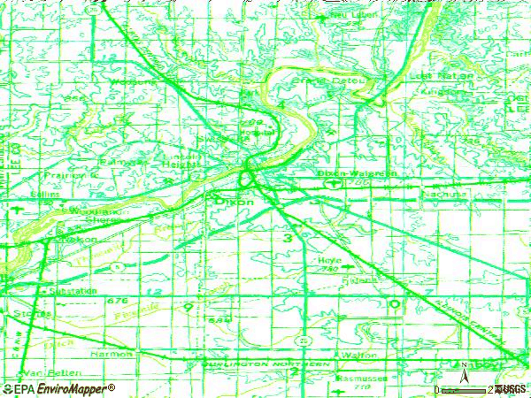 Zip code 61021 topographic map