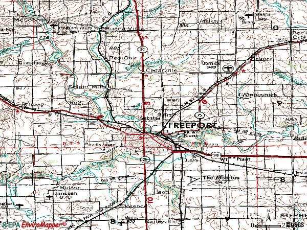Zip code 61032 topographic map