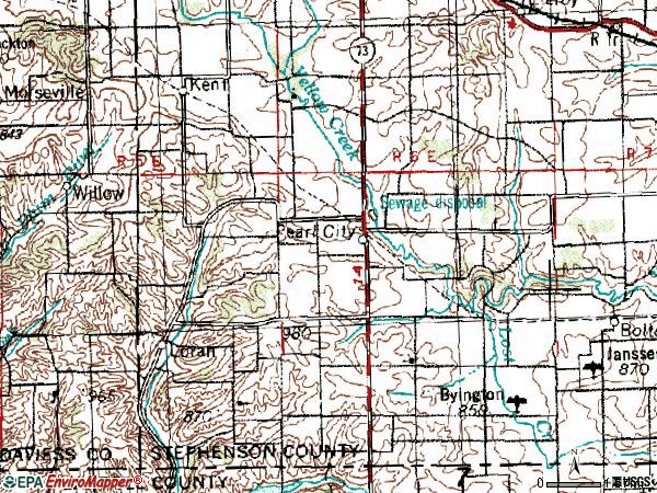 Zip code 61062 topographic map