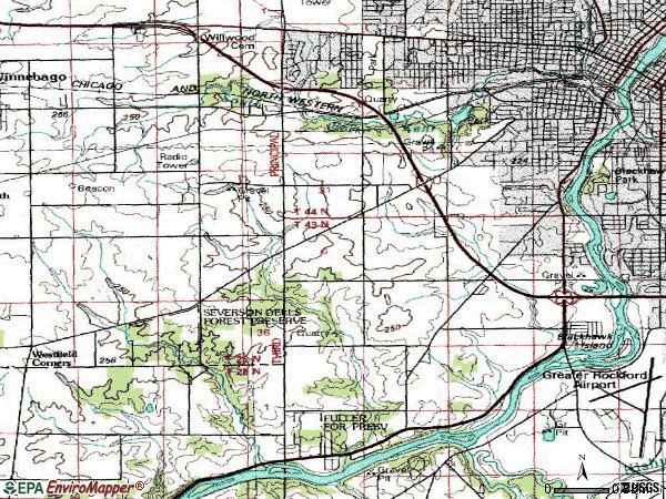 Zip code 61102 topographic map