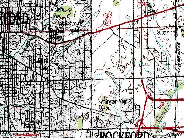 Zip code 61108 topographic map