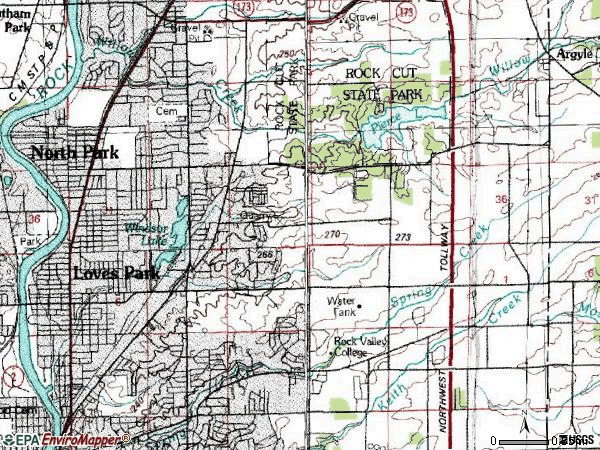 Zip code 61111 topographic map