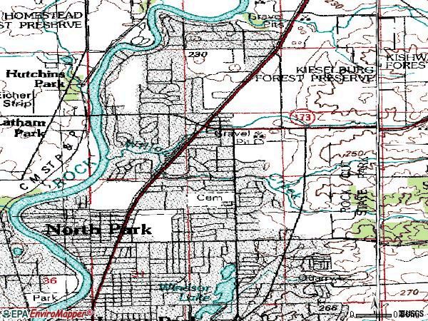 Zip code 61115 topographic map