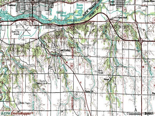Zip code 61240 topographic map