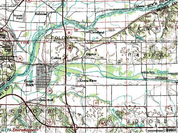 Zip code 61241 topographic map
