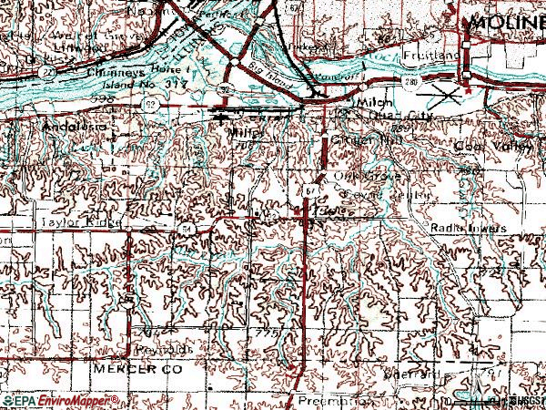 Zip code 61264 topographic map