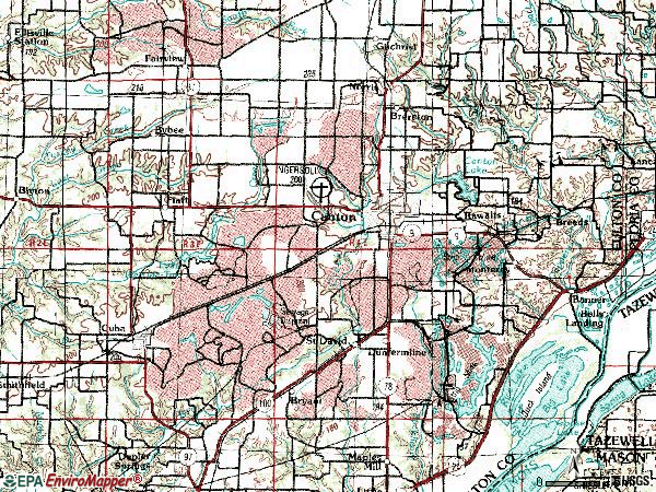 Zip code 61520 topographic map