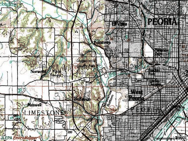 Zip code 61604 topographic map