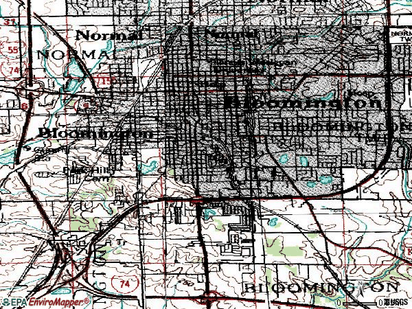 Zip code 61701 topographic map