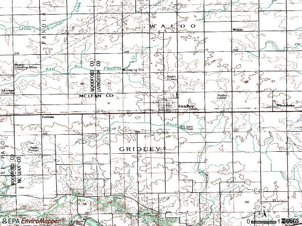 Zip code 61744 topographic map