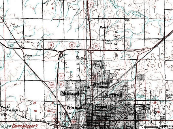 Zip code 61761 topographic map
