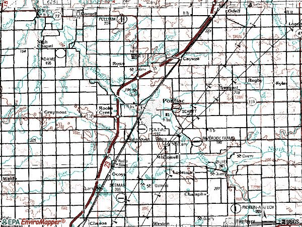 Zip code 61764 topographic map