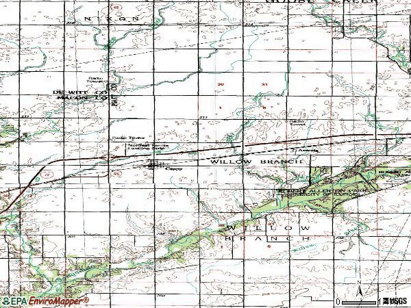 Zip code 61830 topographic map