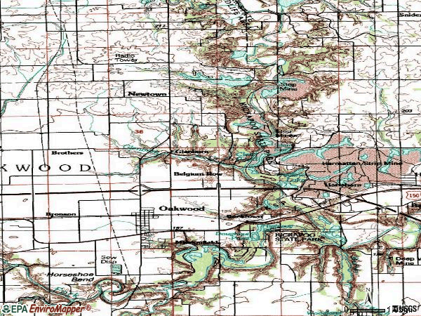 Zip code 61858 topographic map