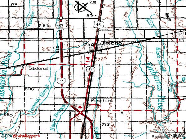 Zip code 61880 topographic map