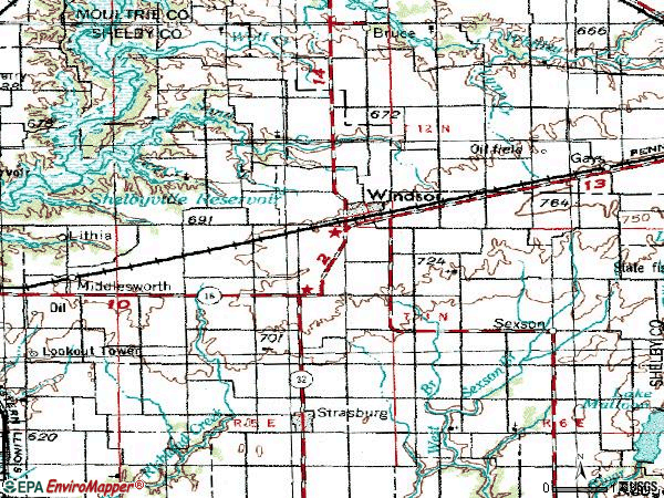 Zip code 61957 topographic map