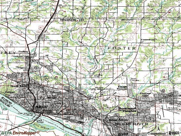 Zip code 62002 topographic map