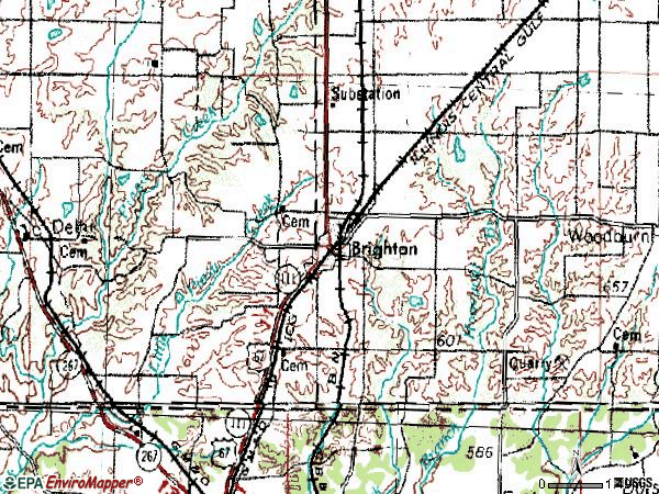 Zip code 62012 topographic map