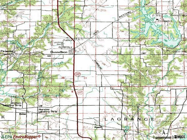 Zip code 62019 topographic map