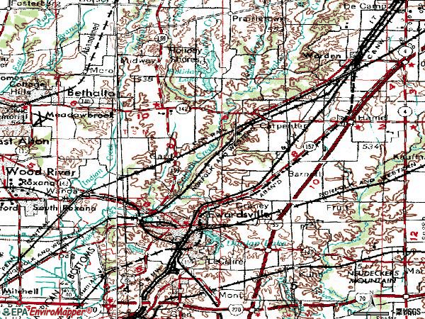 Zip code 62025 topographic map