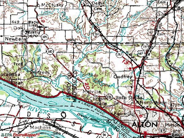 Zip code 62035 topographic map