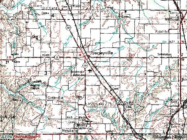 Zip code 62052 topographic map