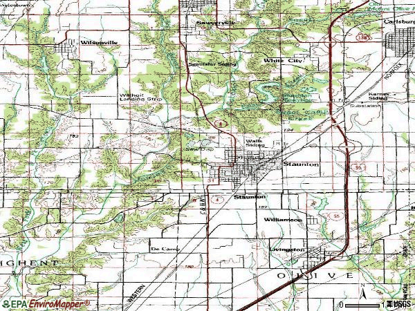 Zip code 62088 topographic map