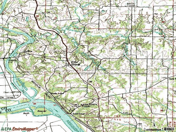 Zip code 62241 topographic map