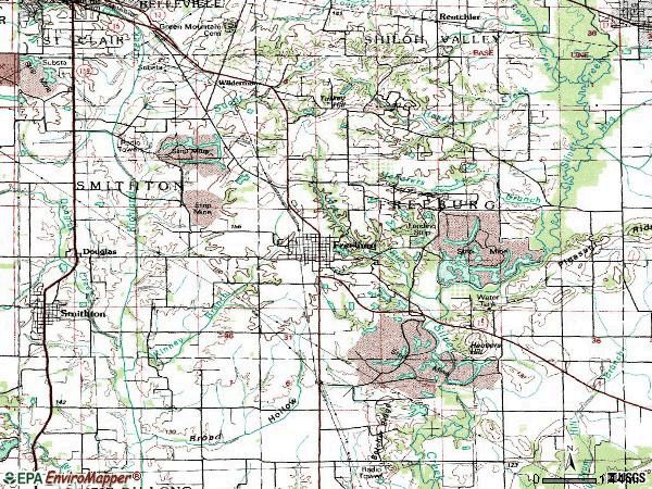 Zip code 62243 topographic map